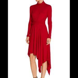 ISSA Asymmetric Milten jersey turtleneck dress